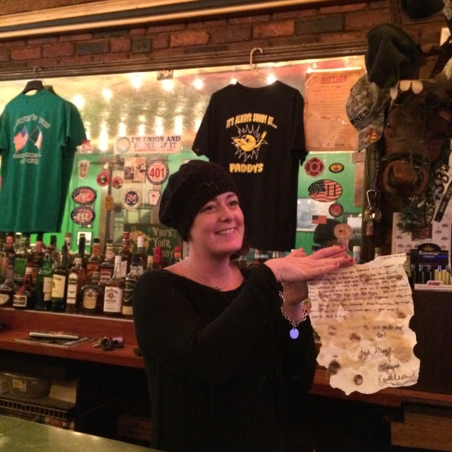 * Yes, even our friendly bar maid took time to write--and then antique -- a letter.